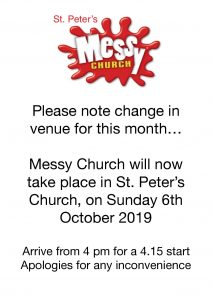 St Peter's Messy Church 6th Oct 2019 Venue change